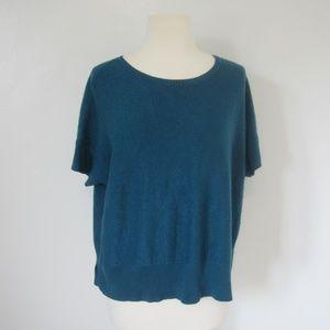 Eileen Fisher Aqua Blue Short Sleeve Sweater 2X